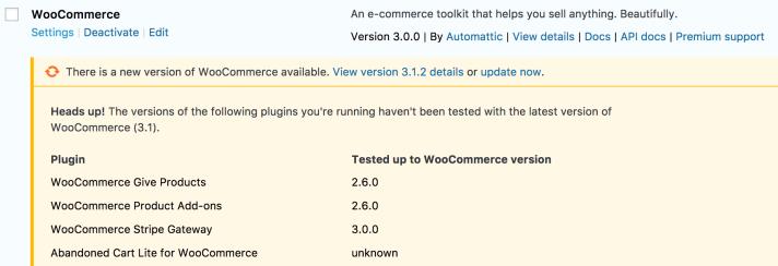 Comprobación antes de actualizar de versión compatible de WP